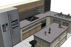 Дизайн кухни в виде острова